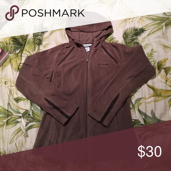 Light brown hooded fleece from Colombia Sportswear Super cute fitted fleece hoodie from Columbia Sportswear unique brown grey color with dark brown accents. Lightly worn with small spot on left arm by wrist. Columbia Jackets & Coats