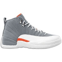 Jordan Retro 12 - Men's - Cool Grey/White/Team Orange