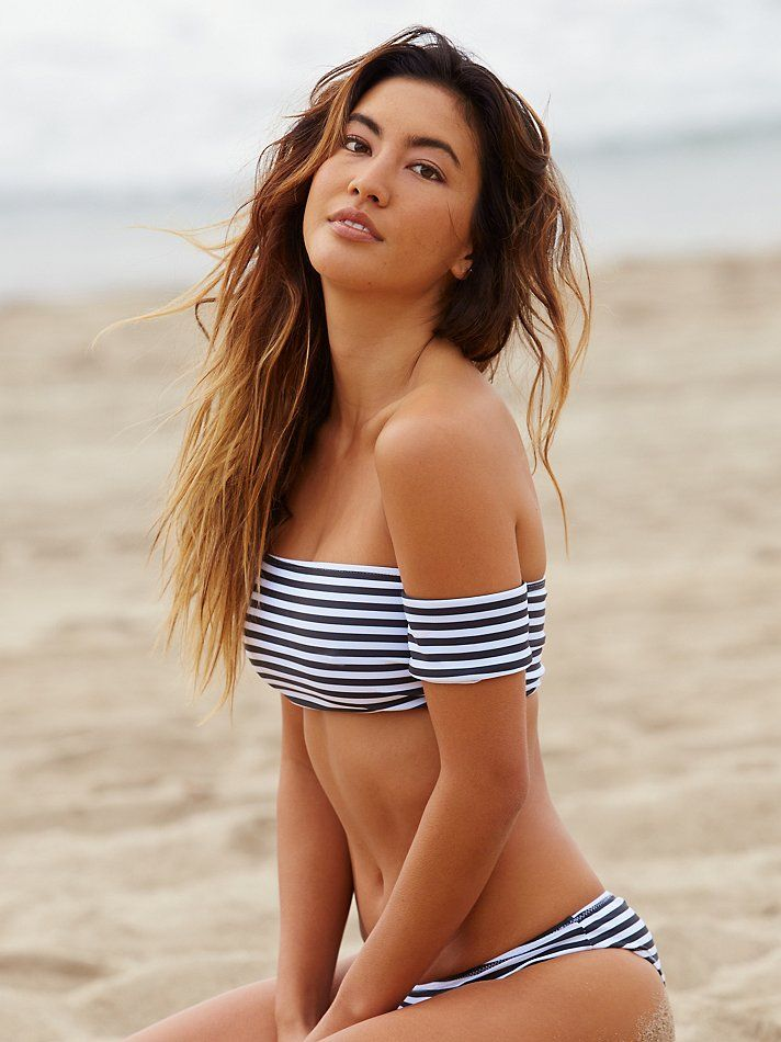 Rose Stripe Bikini Top | In a stripe pattern, this cropped bikini top is in an off-the-shoulder silhouette with short sleeves.  American made.