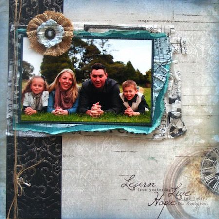 Family page created with KaiserCraft, Antique Bazaar collection by Teena Hopkins for My Scrappin' Shop.