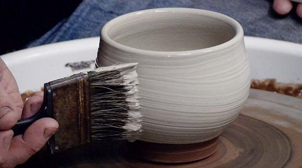 How To Apply A Swirly Slip Coating To A Freshly Thrown Pot Ceramic Arts Network Ceramic Arts Daily Ceramic Art Ceramics