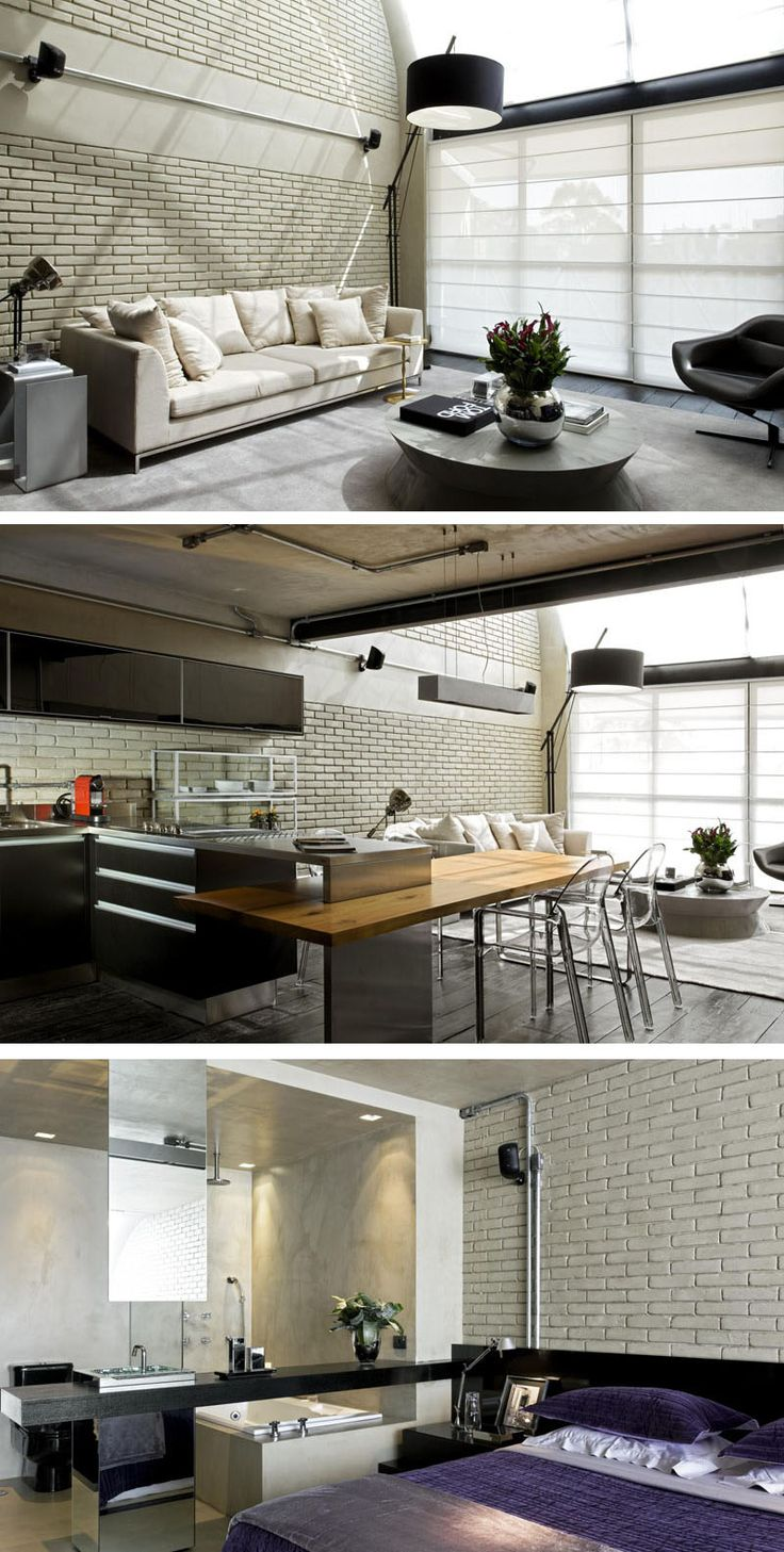 Diego Revollo Architecture have designed an industrial loft with masculine touches, for a man who lives alone in Sao Paulo, Brazil.