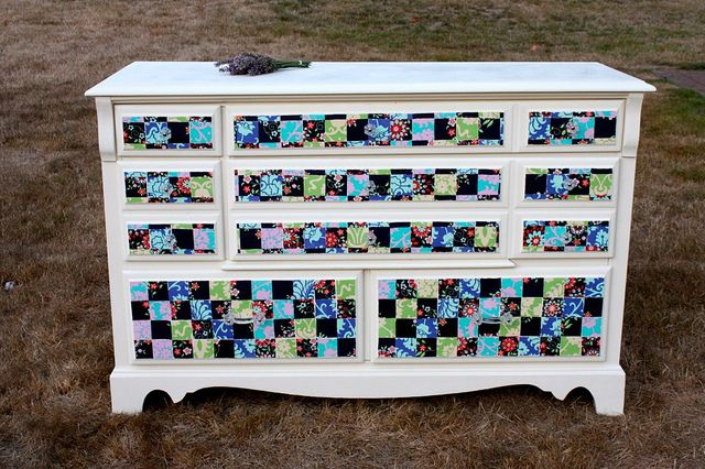 Quilting you dresser - This is such a cute idea, but I would want more of a pink-girlie pallet.