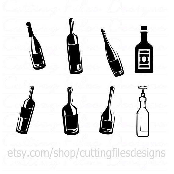 Set Of Wine Glass And Bottle Silhouettes Bottle Images Silhouette Wine Bottle