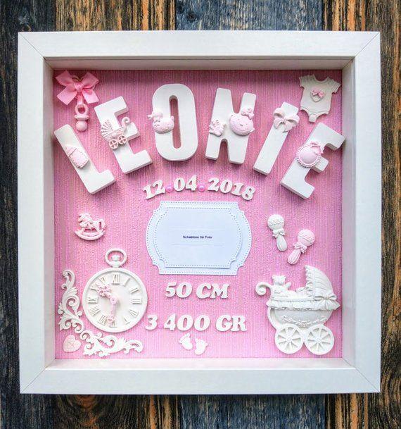 Geschenk Fur Baby Geburt Taufe Geburtstafel 3d Bilderrahmen Personalisiert Geschenkidee Neugeborene Geburtsdaten Namensschild Baby Crafts Newborn Baby Girl Gifts Baby Gift Box