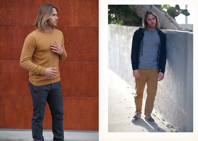 Fall Winter '13 Collection Cashmere Blend Crewneck (Left) Inset Triblend Zip Hoddie (Right) 1972  SS Pocket Tee (Right) Wessen Pants (Right)