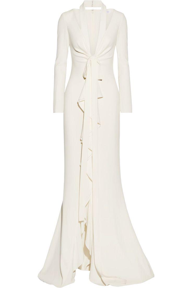 OSCAR DE LA RENTA Cutout ruffle-trimmed crepe gown