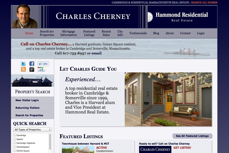 Search for properties and discover Cambridge & Somerville, MA at CharlesCherney.com. Internet Site,  Website, Web Site