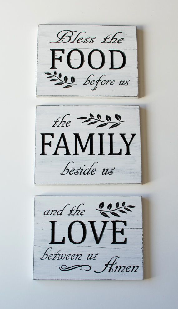 This Family prayer carved wooden sign will be a great addition to your kitchen or dining room. These decorative signs have the family prayer divided into three to be used as a wall collage, which gives you the ability to hang these vertically or horizontally in your home. The signs