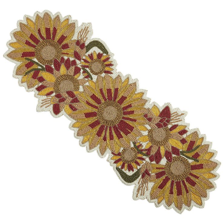 Our Sunflower Table Runner Blooms Brightly With Extravagant, Handcrafted  Embroidery And Beading.