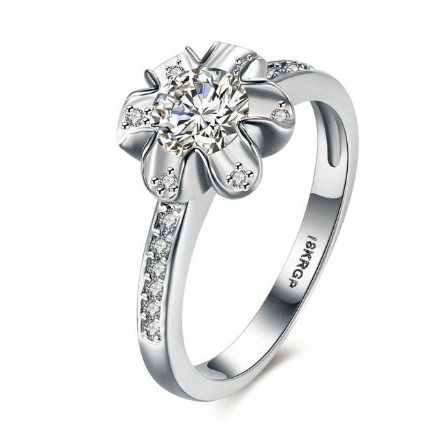 Горячая 18 К Platinum Покрытием CZ Diamond Flower Обручальное Кольцо Размер 6 #7 #8 #9 # Красивая женщина ювелирных изделий R840