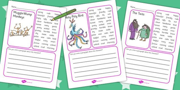 The Twits Character Description Writing Frame - character, frame