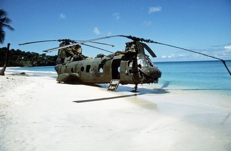 Abandoned twin-rotor helicopter (CH-46 Sea Knight), shot down during the invasion of Grenada 1983