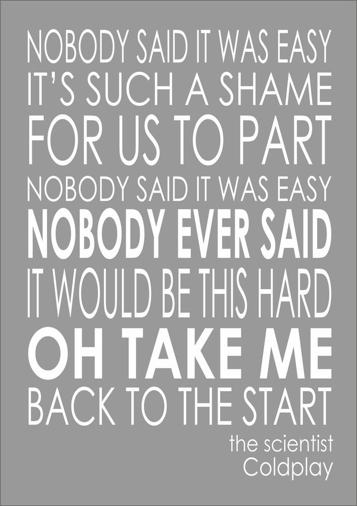 The Scientist - Coldplay - Typography Word Words Song Lyric Lyrics Wall Art