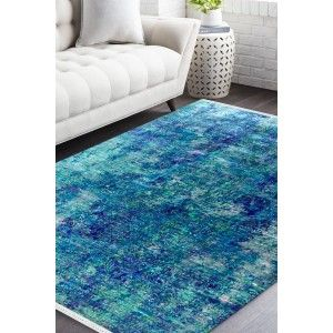 Aqua Marine Beautiful Sari Silk Carpet