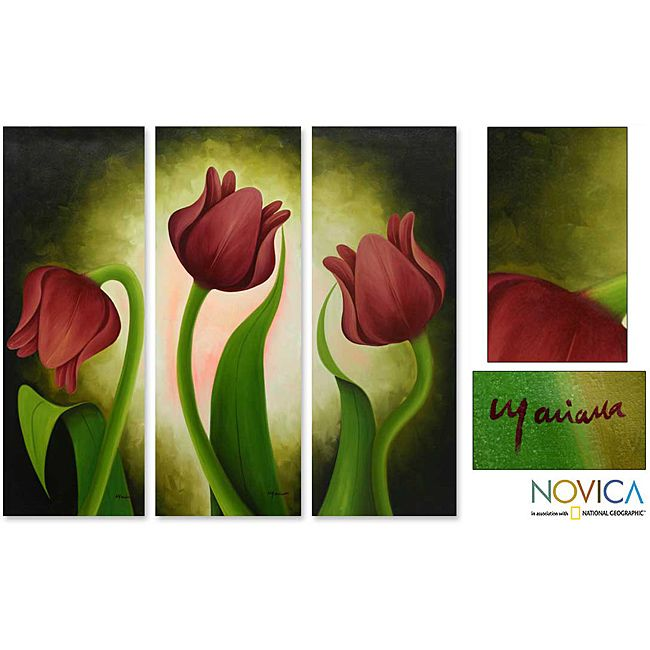Decorate any room in your home with the beauty of original art from Mexico. This painting set by Mariana Gonzalez shows scarlet tulips slowly lifting their heads toward the sun.