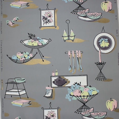 Retro Mid Century Kitchen Pink And Blue On Gray Vintage Wallpaper