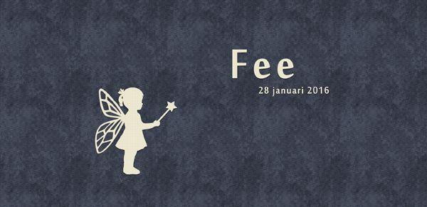 Geboortekaartje Fee - voorkant - Pimpelpluis - https://www.facebook.com/pages/Pimpelpluis/188675421305550?ref=hl (# meisje - fee - silhouet - origineel)