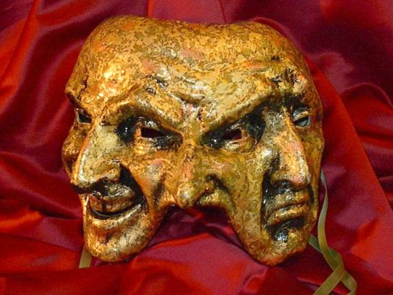 Handmade Man's Venetian Mask Three Faces Open Mouth - Made in Venice Italy - Italian Paper Mache - Trifacce Variegato