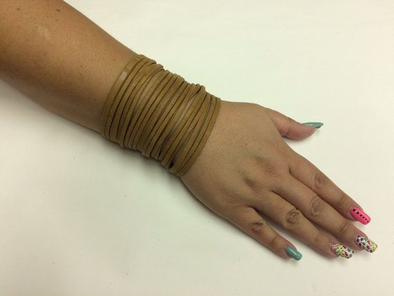Shredded leather bracelet Leather Cuff by StarBoundWestern on Etsy