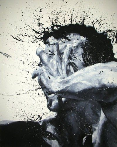 Artwork by Paolo Troilo. Italian artist Paolo Troilo doesn't use paint brushes to create these incredibly beautiful works of art. Instead he dips his fingertips in black and white paint and guides them across the canvas, rendering the most detailed finger paintings I have ever seen. #PaoloTroilo | #Art | #Illustration | #Design |