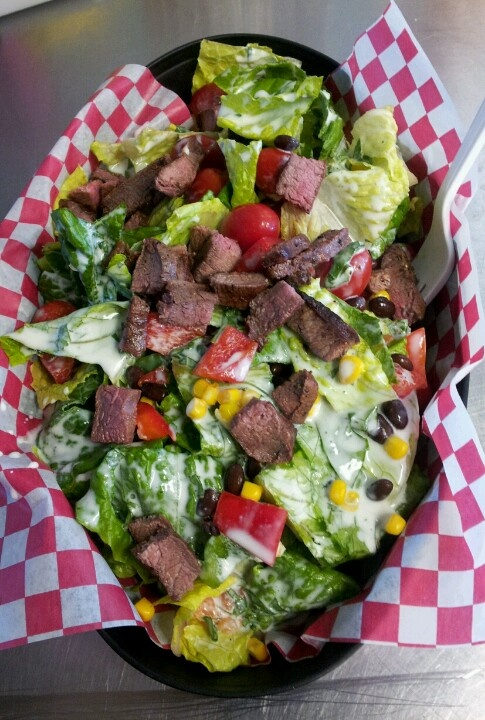 Cinfully Sweet Co: Southwestern Salad with Ranch Dressing (replace sour cream with greek yogurt) Grilled Corn, Steak, Peppers and Black Beans