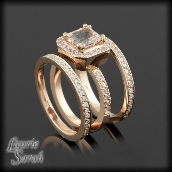 Asscher Cut Morganite 14kt Rose Gold Three Ring Wedding Set With White Sapphires And Milgrain