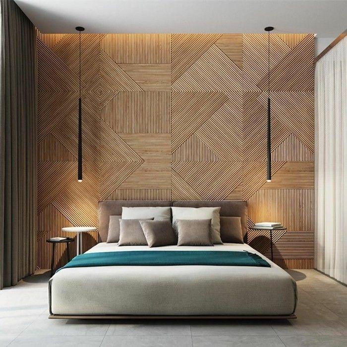 Holzwand Holzverkeidung Schlafzimmer Ideen