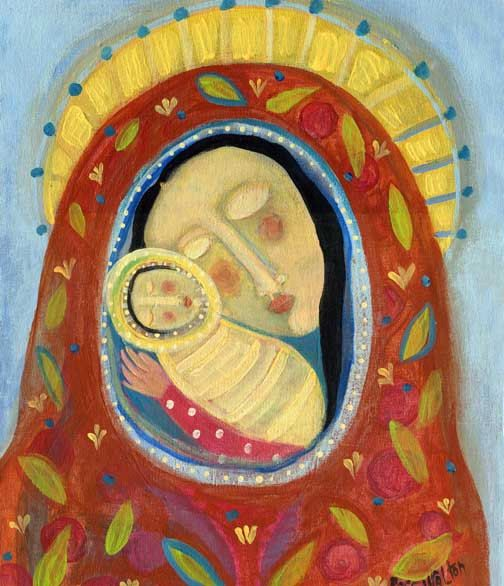 Folk Art Madonna and Child by Rose Walton Giclee Print 11x14 with white borders
