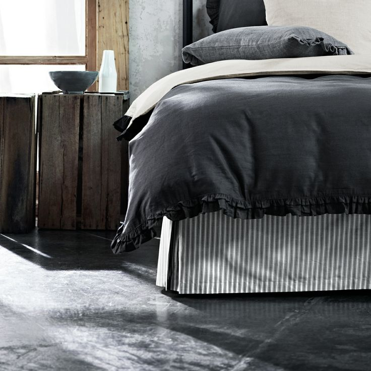 Ticking Stripe Queen bed valance Smoke