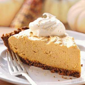 A gingersnap crust adds double the fall flavor to this festive pie recipe./