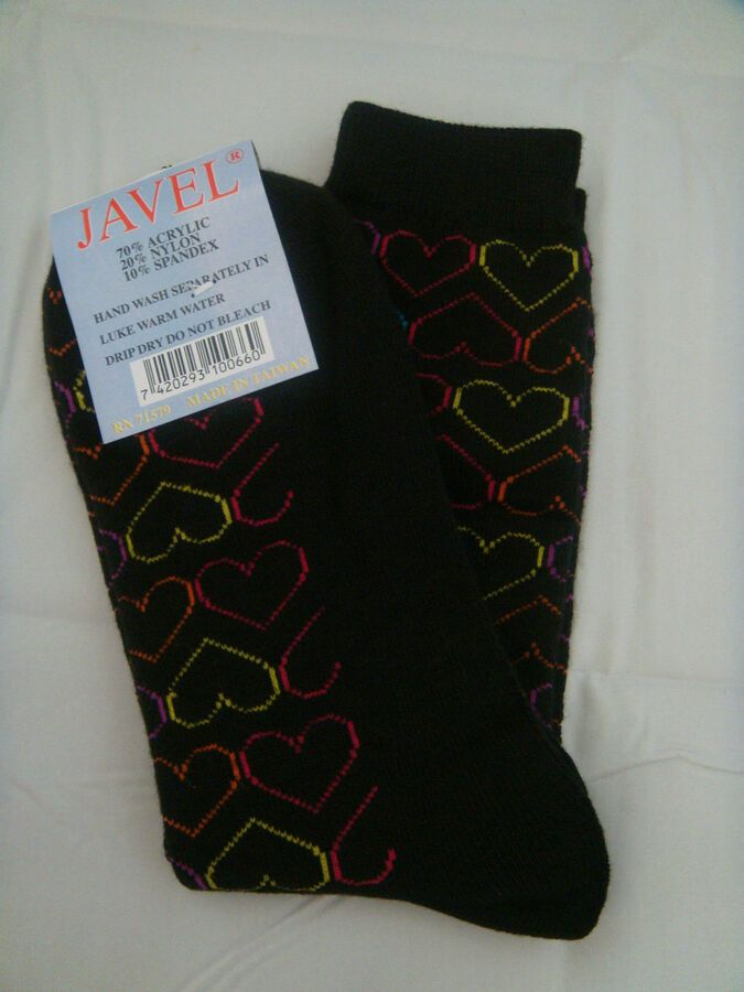 e9dbbea2134 Ladies Black Socks Hearts Purple Blue Yellow Orange Outlines Hosiery Size 9  -11 Hearts