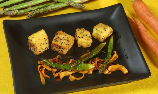 Receta de Aperitivo de polenta, jamón y queso
