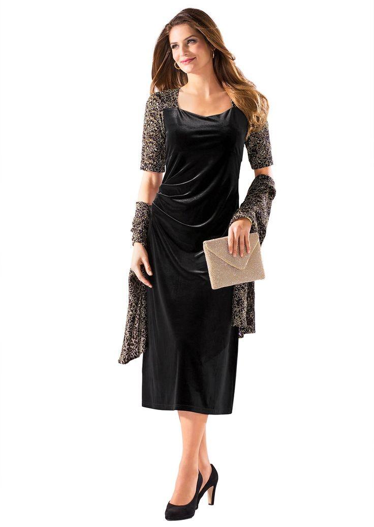 Kleid mit Stola schwarz-gold - atelier goldner schnitt
