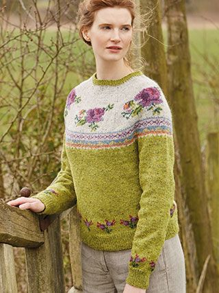 BLOSSOM from Springtime Collection Six by Marie Wallin 8 handknit designs for women by Marie Wallin. A beautiful trans-seasonal collection of quintessential feminine knitwear featuring floral intarsias, fairisles, subtle lace and twisted stitch textures. Mainly using Rowan Felted Tweed, this collection is the ideal solution to the problem of what to wear on a sunny spring day when it's still chilly outside | English Yarns http://englishyarns.co.uk/rowan-marie-wallin-springtime.html