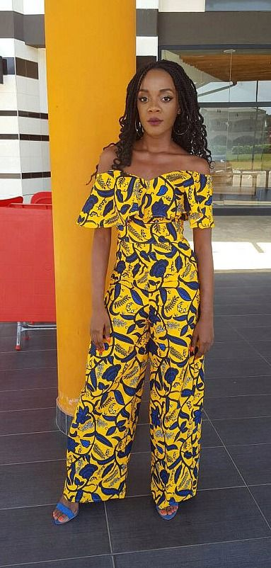 Our Ankara print jumpsuit features this year's trending off-shoulder style…