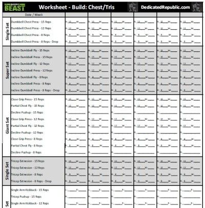 Body Beast Worksheets (Dedicated Republic)
