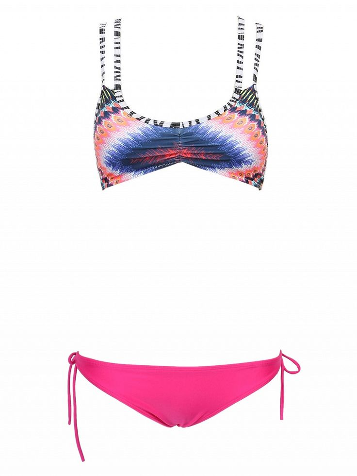 Stretch swim fabric Dip dye printed design Plunge cups Double shoulder straps Low-rise, hipster style Tied sides Hand wash cold 16%Spandex 84%Nylon