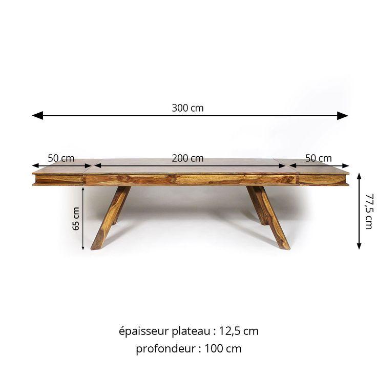 Table à manger bois massif scandinave allonges incluses