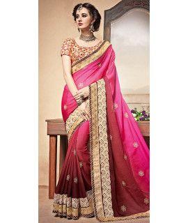 Freezing Pink And Brown Silk Designer Saree.