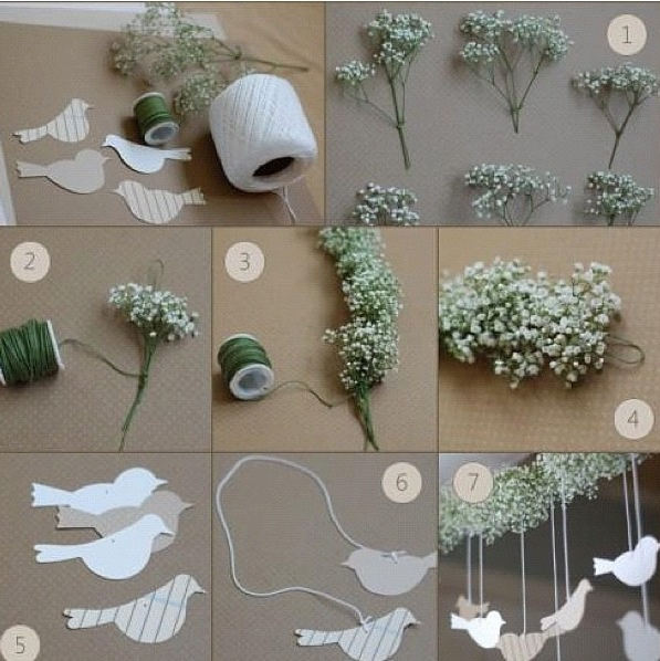 Paper birds and baby's breath!