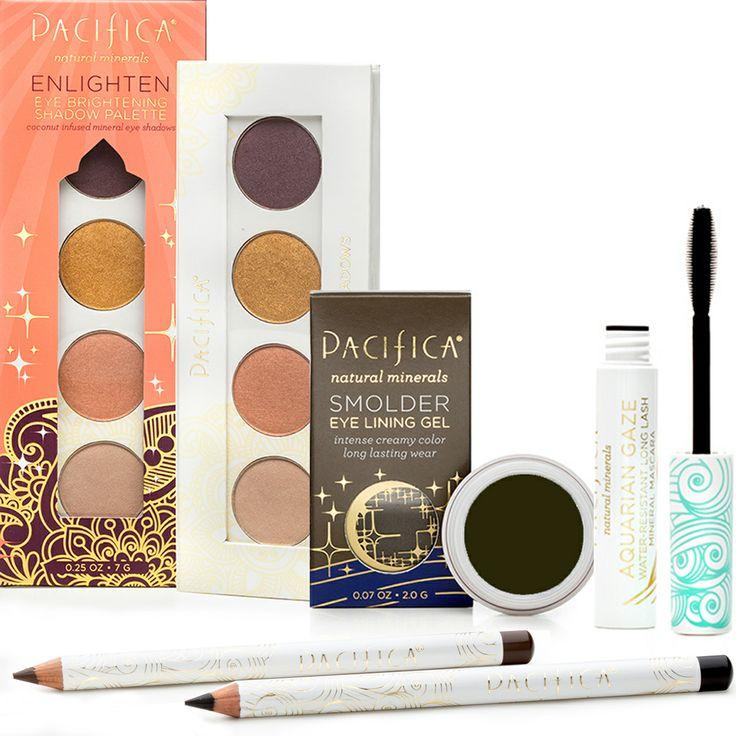 Bright Eyes Beauty Set: Enlightened Palette, Smolder Eye Ling Gel in Tahitian Pearl, Natural Eye Lining Pencils in Fringe and Jet & Aquarian Gaze Mascara in Abyss.
