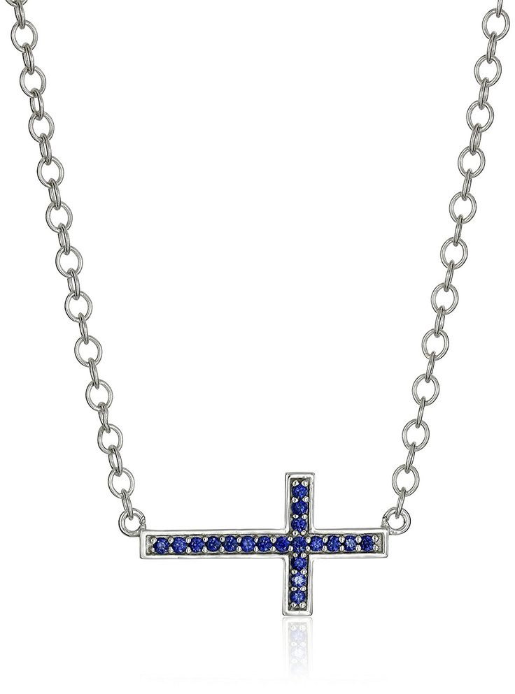 Sterling Silver Created Blue Sapphire Sideways Cross Necklace *** Details can be found by clicking on the image. (This is an Amazon Affiliate link)
