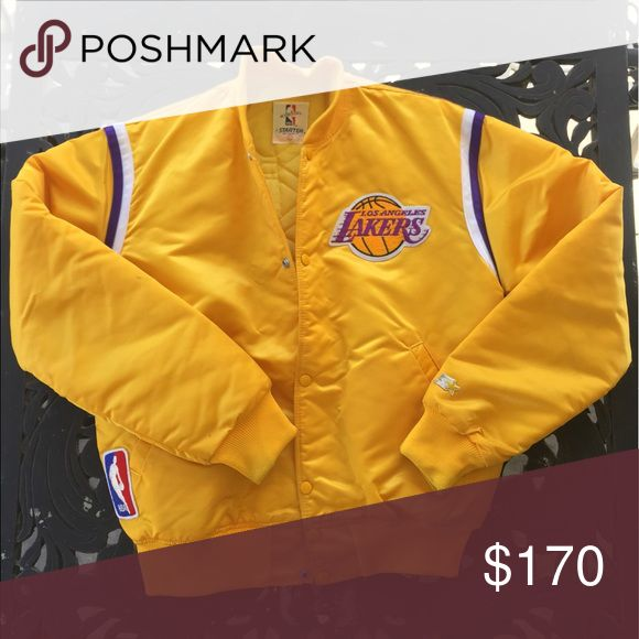Los Angeles Lakers Jacket Vintage 80s Los Angeles Lakers NBA Basketball Starter Satin Jacket Size L  Pristine condition, tucked away in a box and never seen again until now. Never worn! Mitchell & Ness Jackets & Coats Puffers