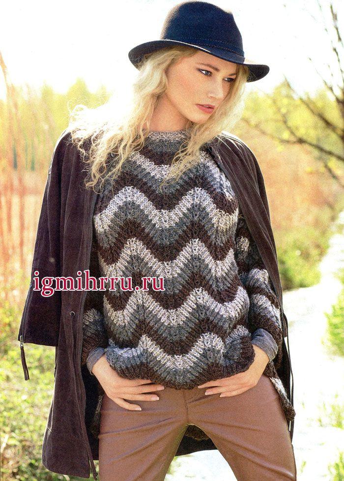 Для прохладных осенних дней. Пуловер с зубчатым узором, из мягкой пряжи альпака. Вязание спицами
