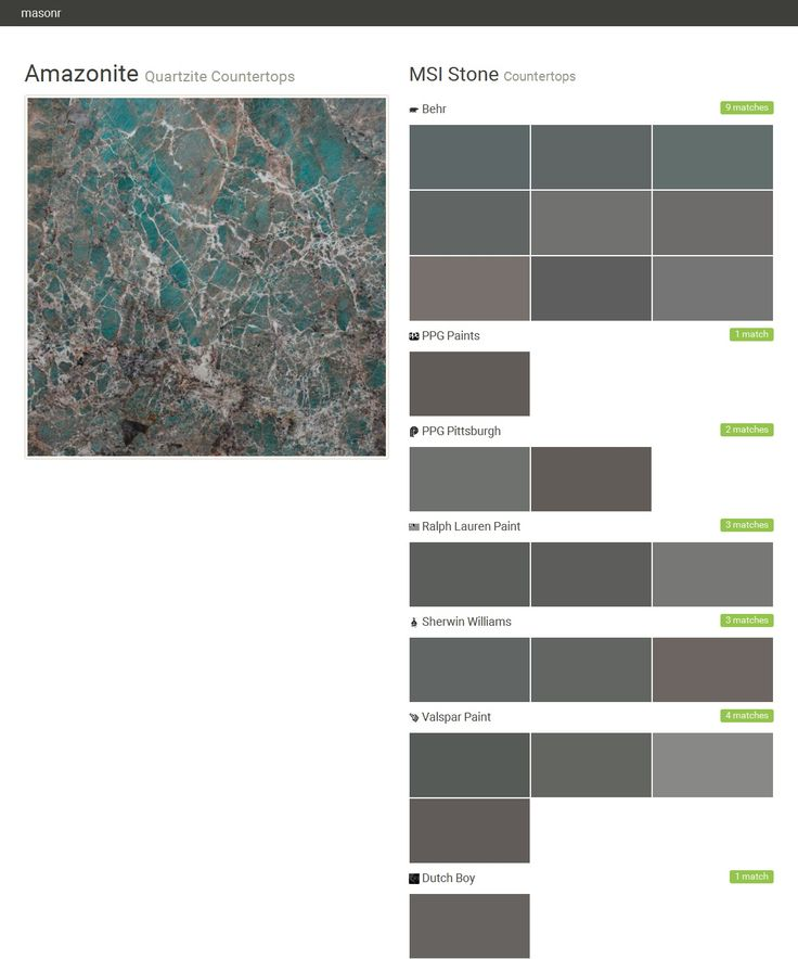 Amazonite. Quartzite Countertops. Countertops. MSI Stone. Behr. PPG Paints. PPG Pittsburgh. Ralph Lauren Paint. Sherwin Williams. Valspar Paint. Dutch Boy.  Click the gray Visit button to see the matching paint names.