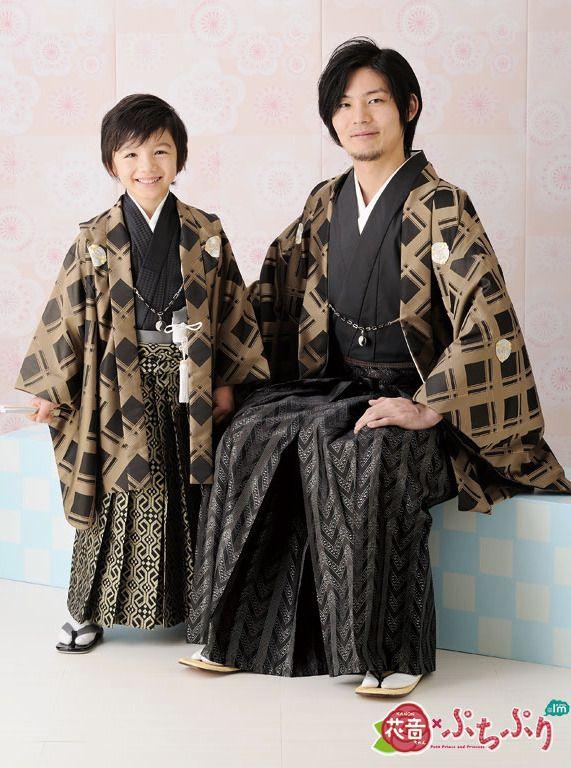 "thekimonogallery: "" Man and boy in traditional formal kimono/hakama/haori set. Japan """