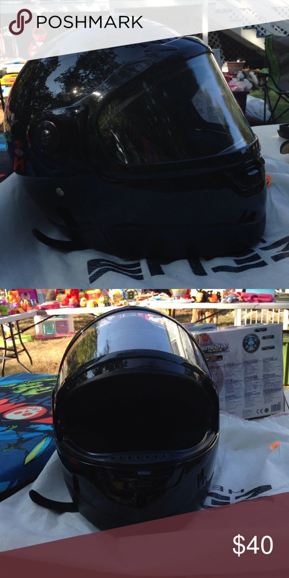 Zeus Helmets. XS Snow Mobile helmet Black with face mask that opens. Used one time. Accident free. Zeus Helmets Other