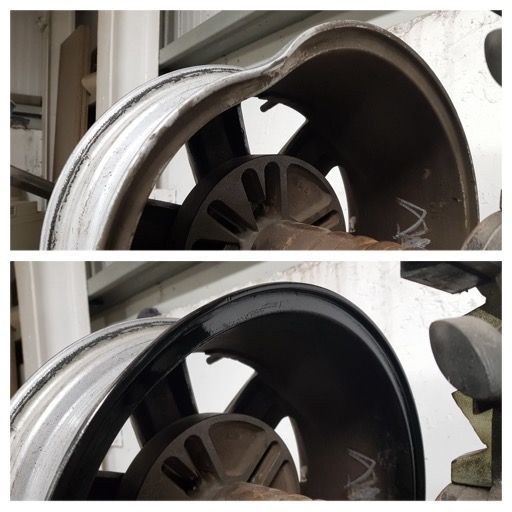 Getting you back in the straight and narrow. Before and after on this rim with some heavy damage on the rear edge and an oval shaped wheel. All straightened and ready to go.  Phone now and get 10% off in most of our departments. 028 3834 3724.