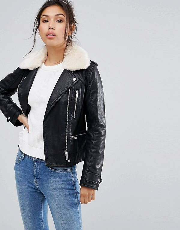 Warehouse Borg Collar Leather Look Jacket